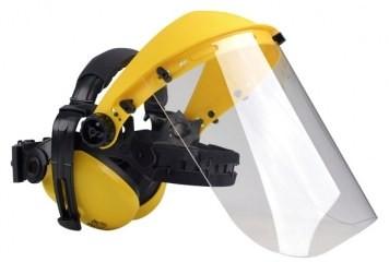 Ochranný štít se sluchátky pro obsluhu křovinořezu (plexi)