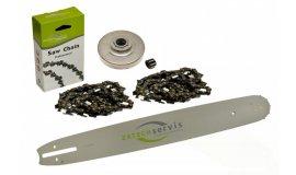 Lišta 38cm + 2x řetěz 56 článků 3/8 1,6mm + řetězka Stihl MS361